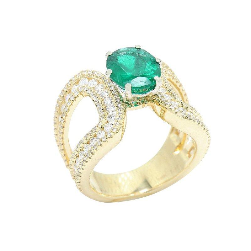 Isadora Natural Emerald & Diamond Ring