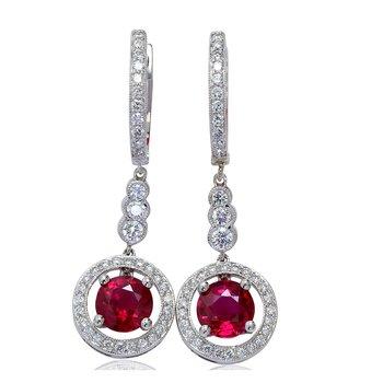 Ruby Dangle Earrings 18KW