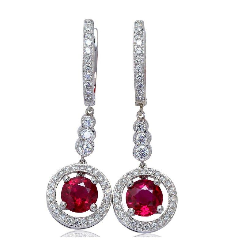 London Gold Designs Ruby Dangle Earrings 18KW