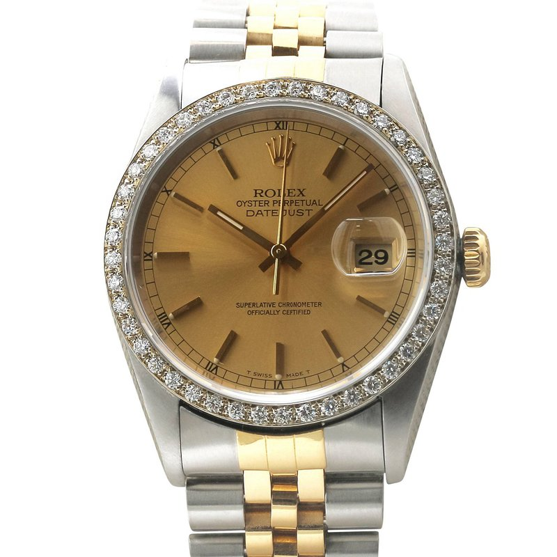 Rolex Pre-Owned Watches Datejust Steel & 18KY Champagne Dial 16233