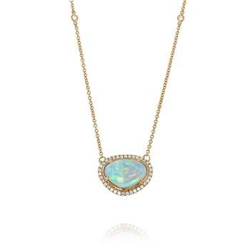 Opal & Diamond Halo Necklace 18KR