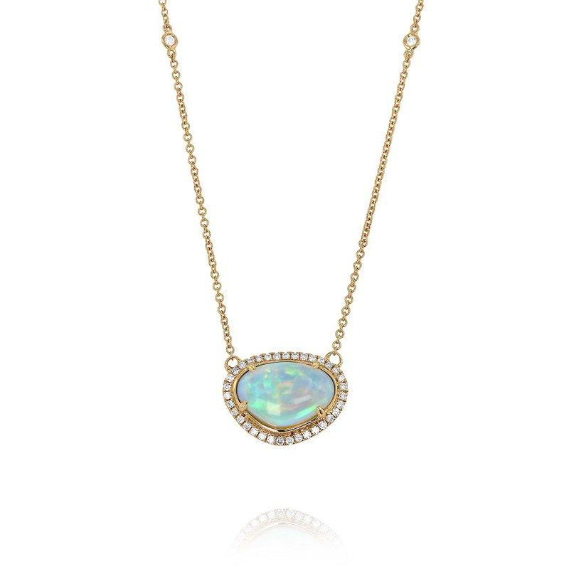Yael Designs Opal & Diamond Halo Necklace 18KR