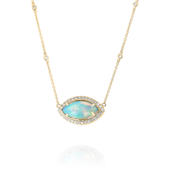 Marquise Opal Halo Pendant 18KY