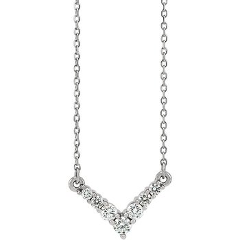"Dainty Diamond ""V"" Necklace 14KW"
