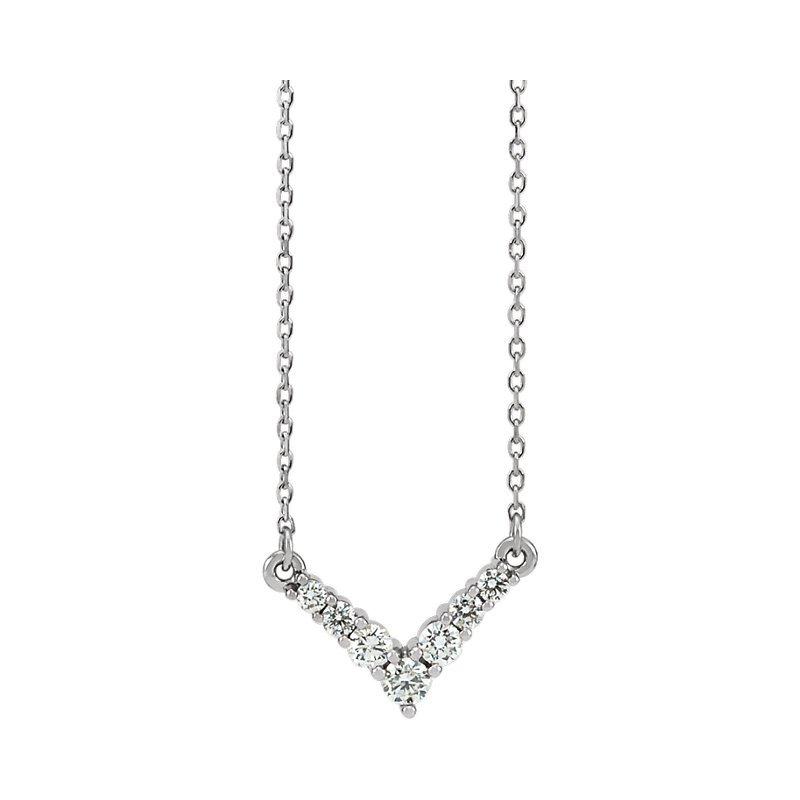 "Gallery Designs Dainty Diamond ""V"" Necklace 14KW"