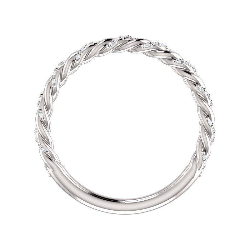 Gallery Designs 14k White Pave Twist Diamond Band
