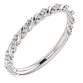 14k White Pave Twist Diamond Band