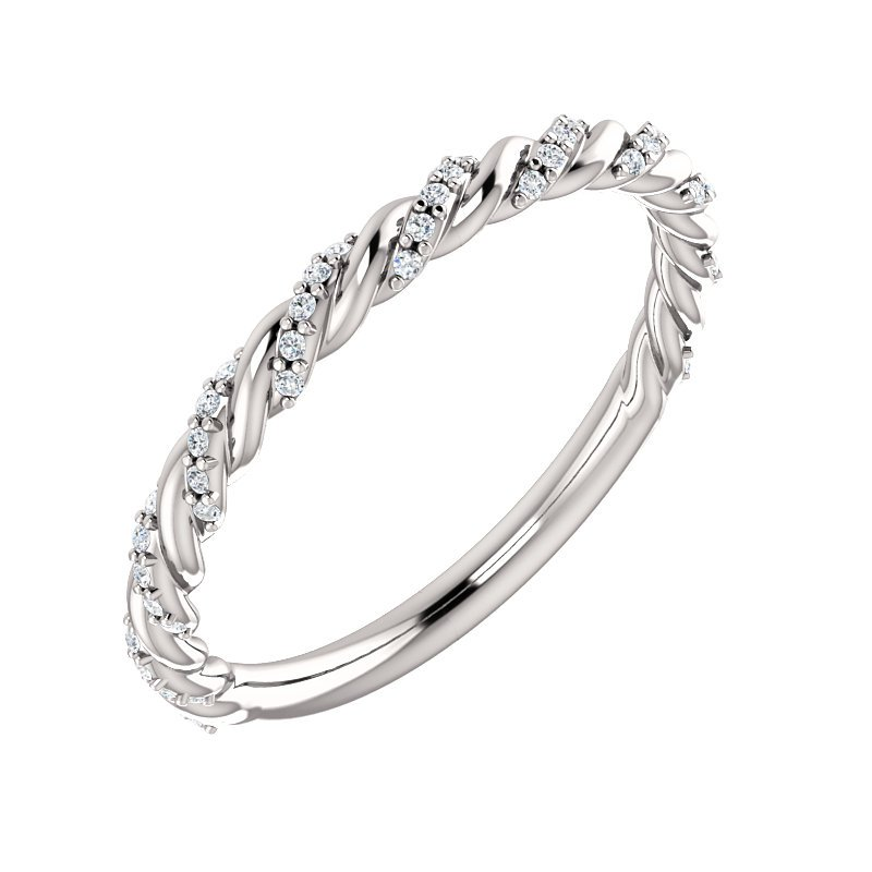 Gallery Designs 14k White Pave Twist Diamond Band