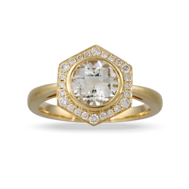 Doves Art Deco Style Diamond & White Topaz Ring