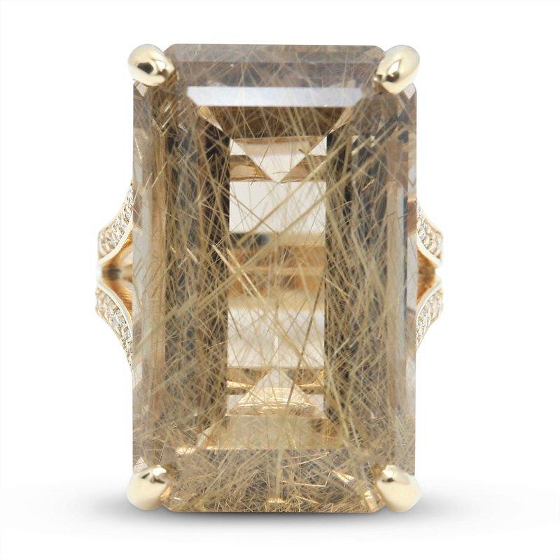 Daniels Designs Rutilated Quartz & Diamond Ring 14KY
