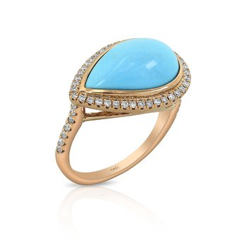 Turquoise & Diamond Ring 18KR