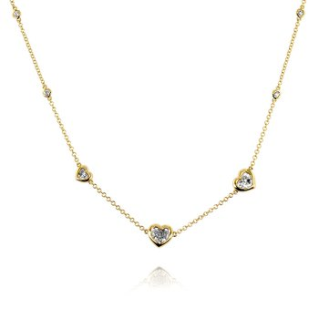 Heart Diamond Necklace 18KY