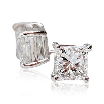 2.13cttw Princess Diamond Studs