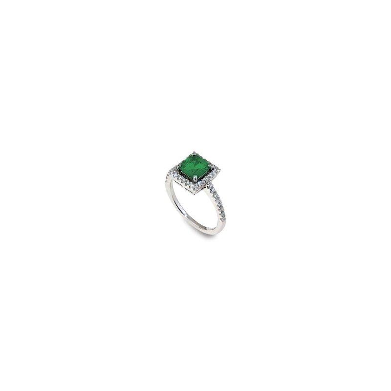 London Gold Designs Emerald & Diamond Ring 18KW