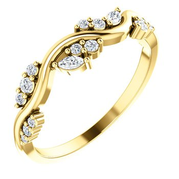 14k Yellow Gold Multi Shape Stackable Ring
