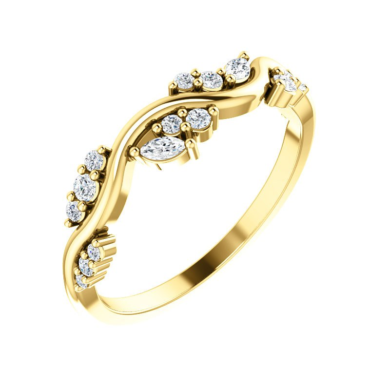 Gallery Designs 14k Yellow Gold Multi Shape Stackable Ring