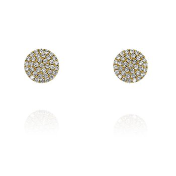Small Pave Disc Earrings 18KY