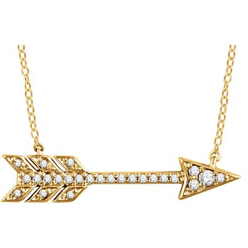 Diamond Arrow Necklace 14KY
