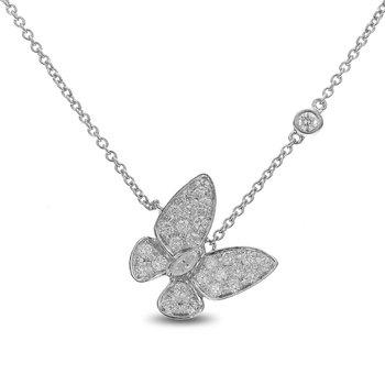 Butterfly Diamond Necklace 18KW
