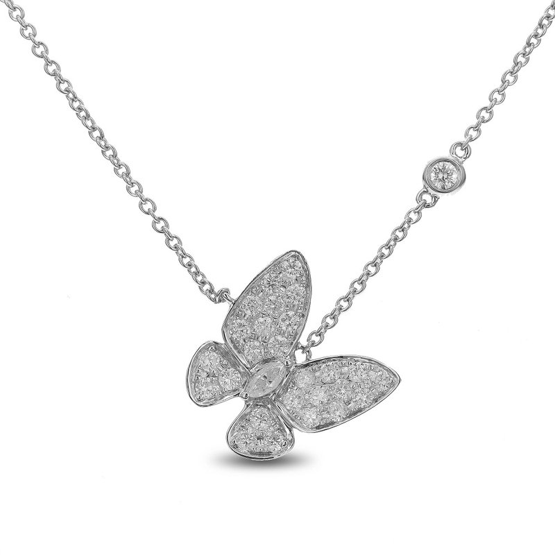 Odelia Jewelry Butterfly Diamond Necklace 18KW