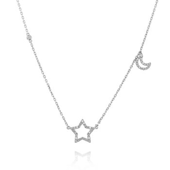 Diamond Star & Moon Necklace 18KW