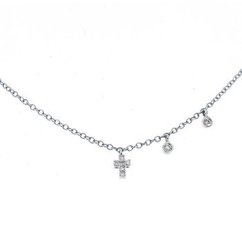 Cross Charm Necklace 14KW