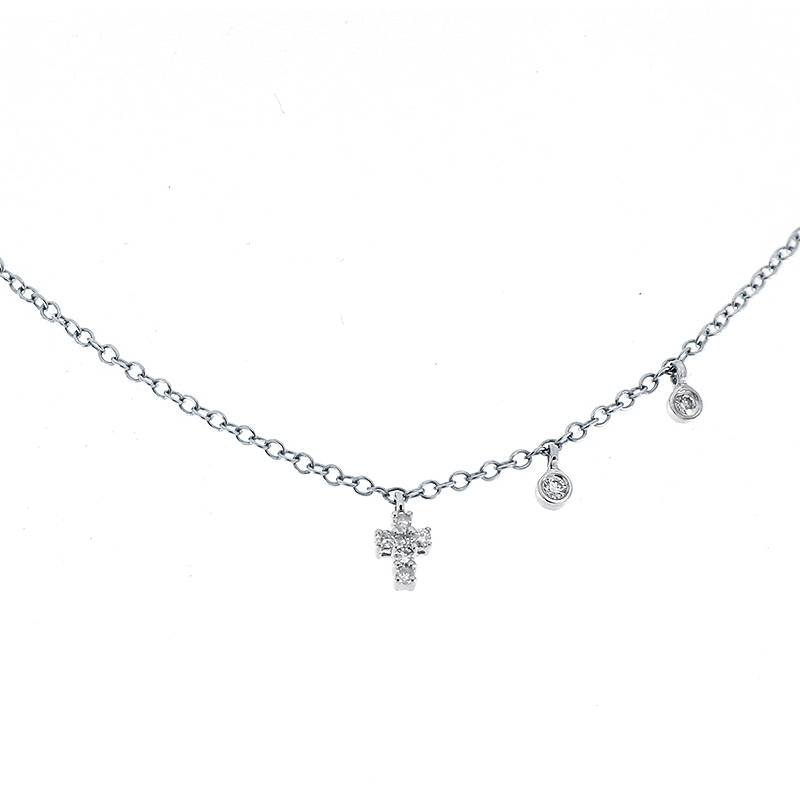 Meira T Cross Charm Necklace 14KW