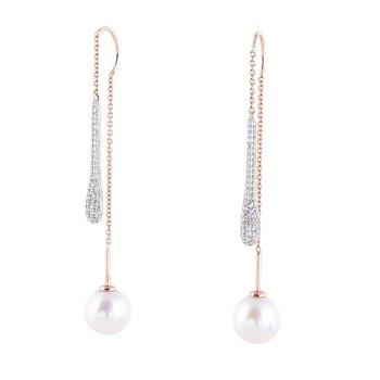 Diamond & Pearl Threader Earrings