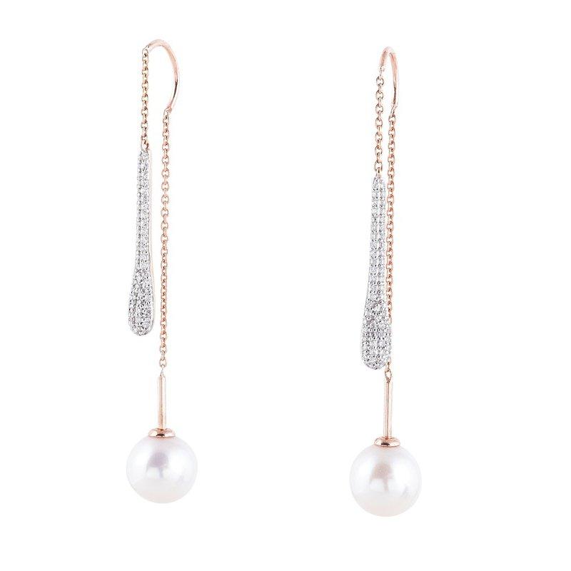 Sophia by Design Diamond & Pearl Threader Earrings