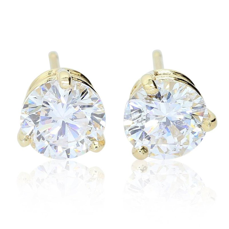 London Gold Designs 1.87cttw Round Diamond Studs 14KY