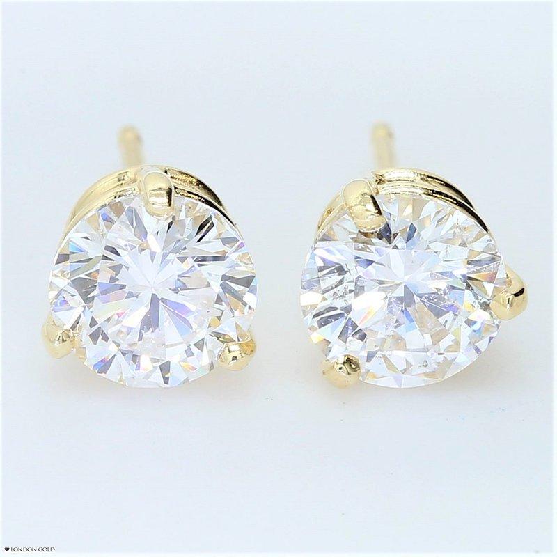 London Gold Designs 1.87ct Round Brilliant Diamond Stud Earrings