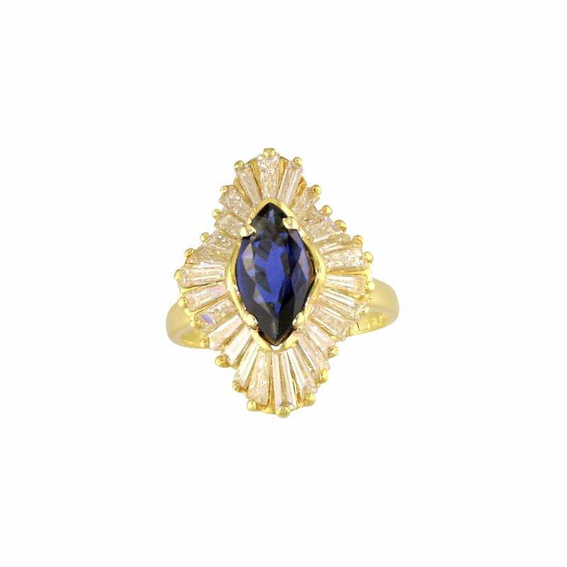 Estate Jewelry Vintage Ballerina Sapphire and Diamond Ring