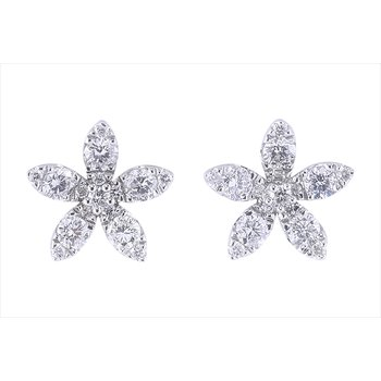 Diamond Flower Studs 14KW