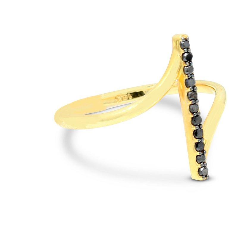 London Gold Designs Black Diamond Fashion Ring