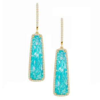Amazonite & Diamond Dangle Earrings 18KY