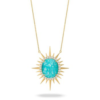 Sunburst Amazonite & Diamond Necklace 18KY