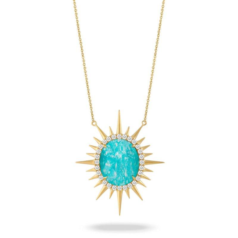 Doves Sunburst Amazonite & Diamond Necklace 18KY