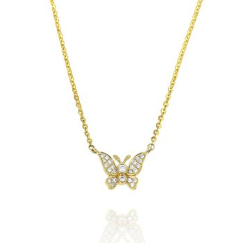 Butterfly Diamond Necklace 18KY