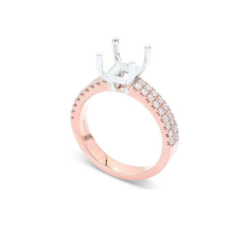 Isadora Two Row Engagement Ring Setting 18KR