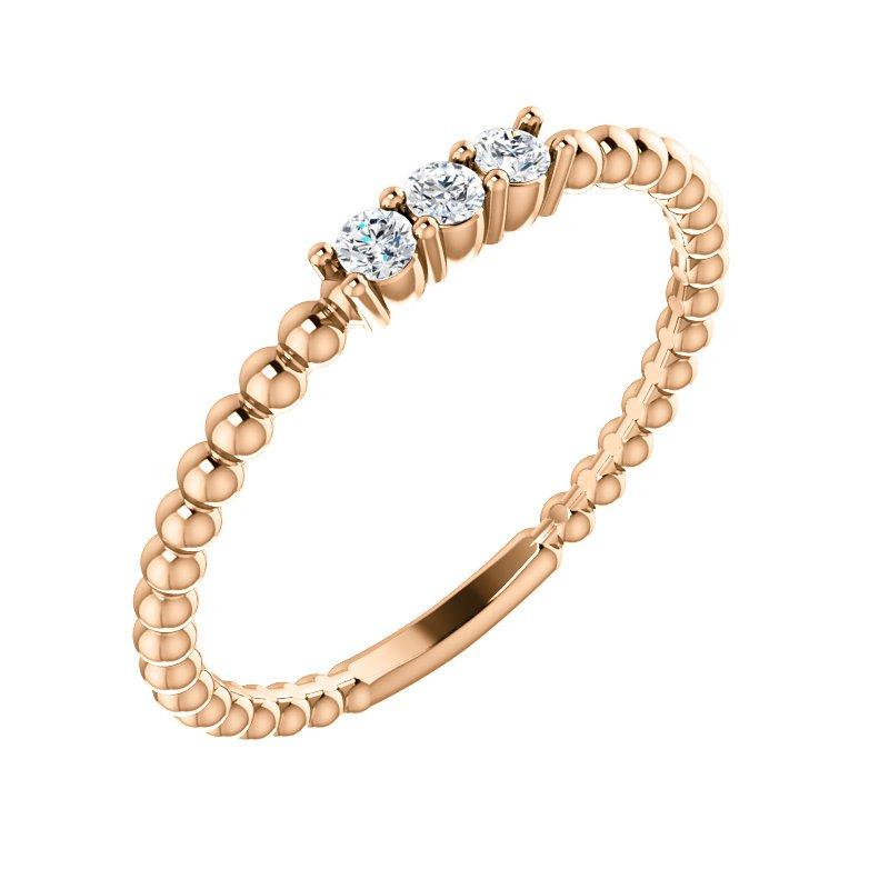 Gallery Designs 14k Yellow Three Stone Diamond Beaded Ring