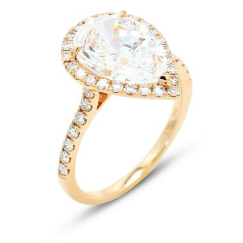2.94 Pear Halo Engagement Ring 18KR