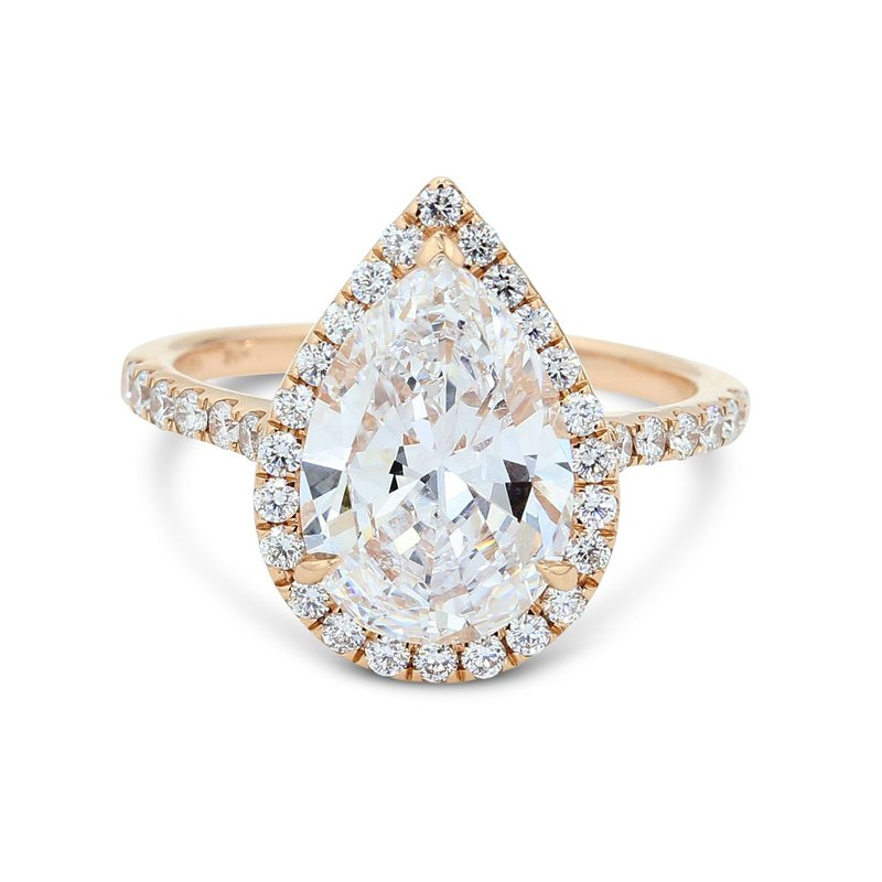 London Gold Designs 2.94 Pear Halo Engagement Ring 18KR