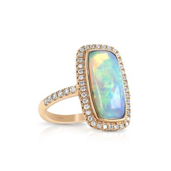 Opal & Diamond Halo Ring 18KR