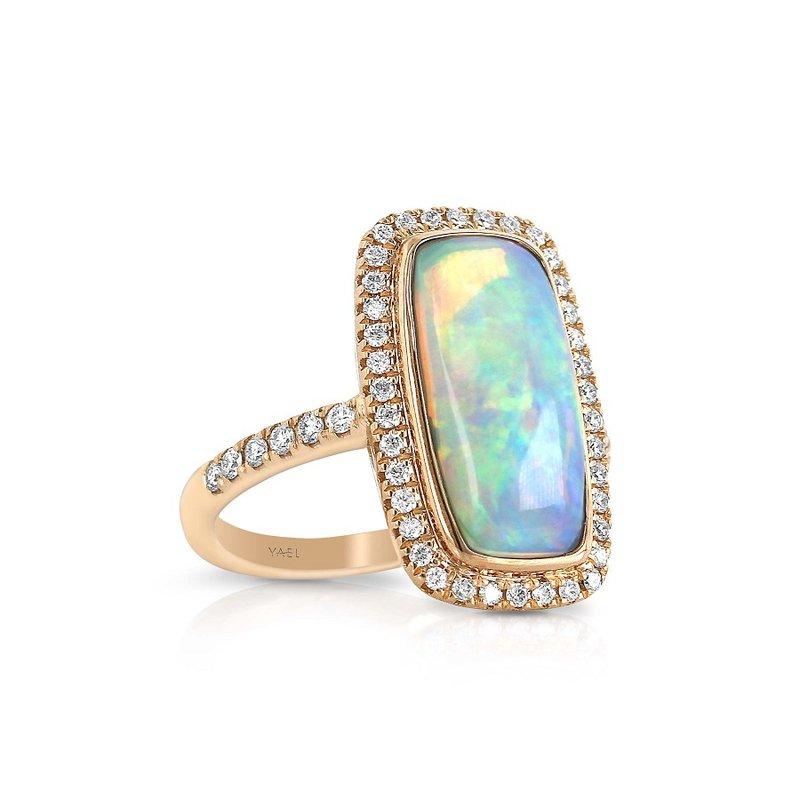 Yael Designs Opal & Diamond Halo Ring 18KR