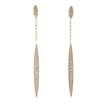 Dagger Diamond Dangle Earrings 14KY