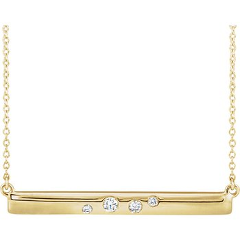 Diamond Accent Bar Necklace 14KR