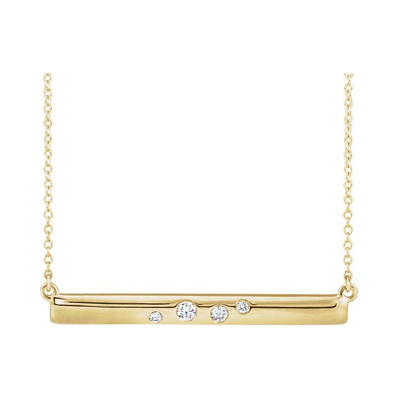 Gallery Designs Diamond Accent Bar Necklace 14KR