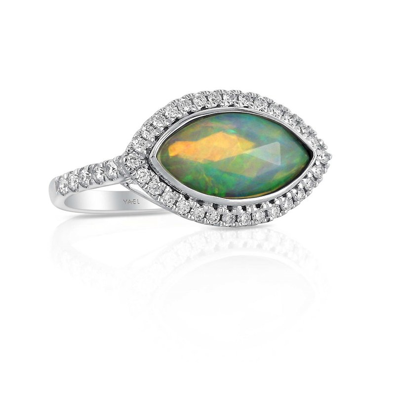 Yael Designs Marquise Opal Halo Ring 18KW