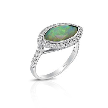 Marquise Opal Halo Ring 18KW