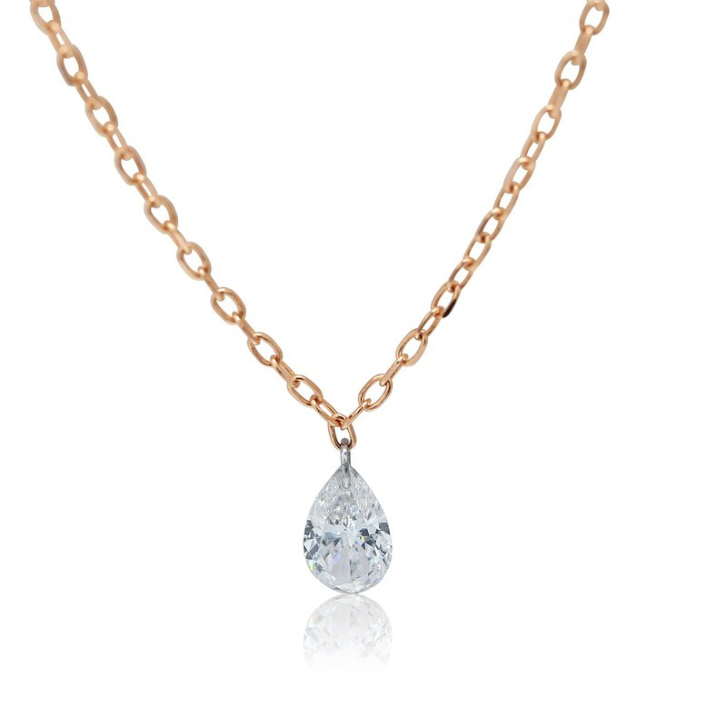 Gravity Pierced Pear Diamond Necklace 14KR